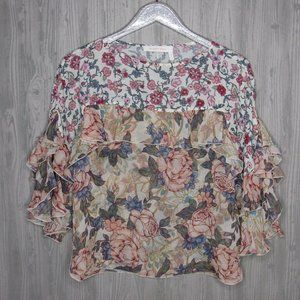 SEE BY CHLOE LONG SLEEVE CHIFFON FLORAL SILK BLOUS